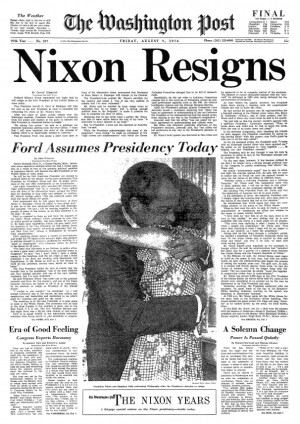 Portada del 'Washington Post' sobre la dimisión de Nixon